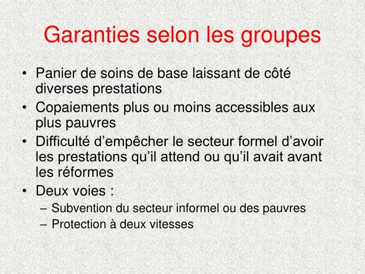Garanties selon les groupes