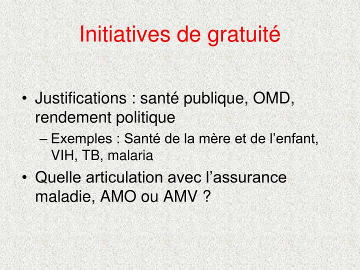 Initiatives de gratuité