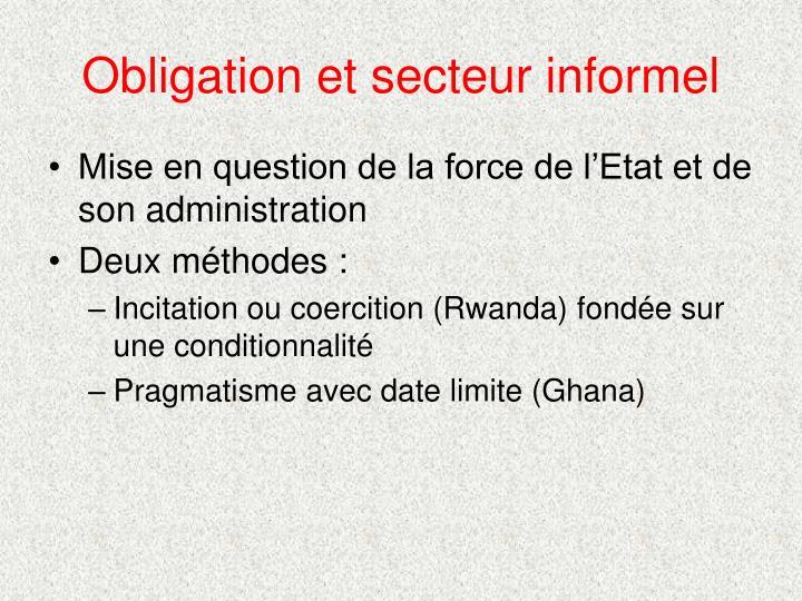 Obligation et secteur informel