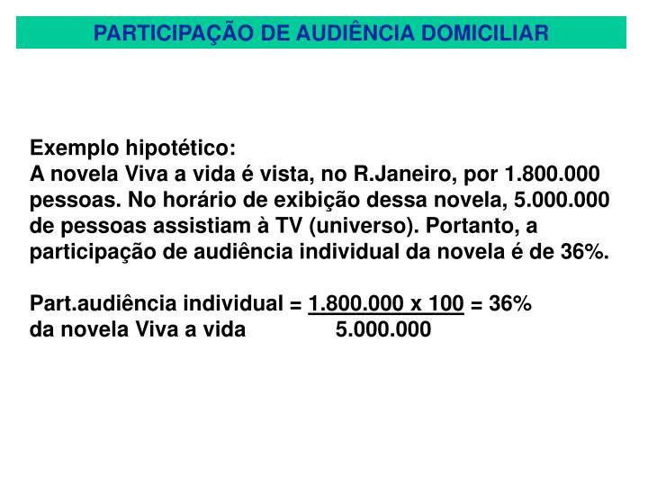 PARTICIPAÇÃO DE AUDIÊNCIA DOMICILIAR