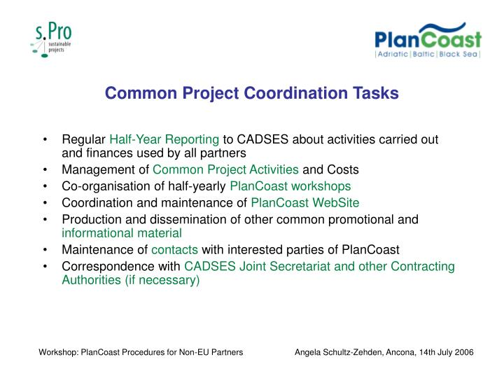 Common Project Coordination Tasks