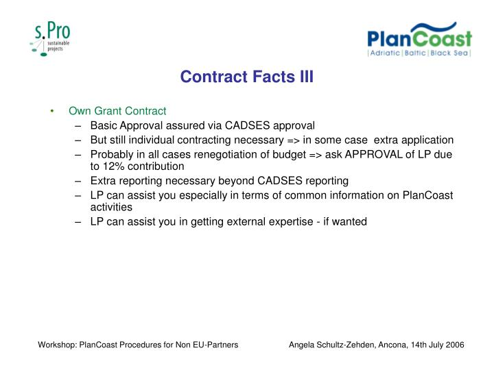 Contract Facts III