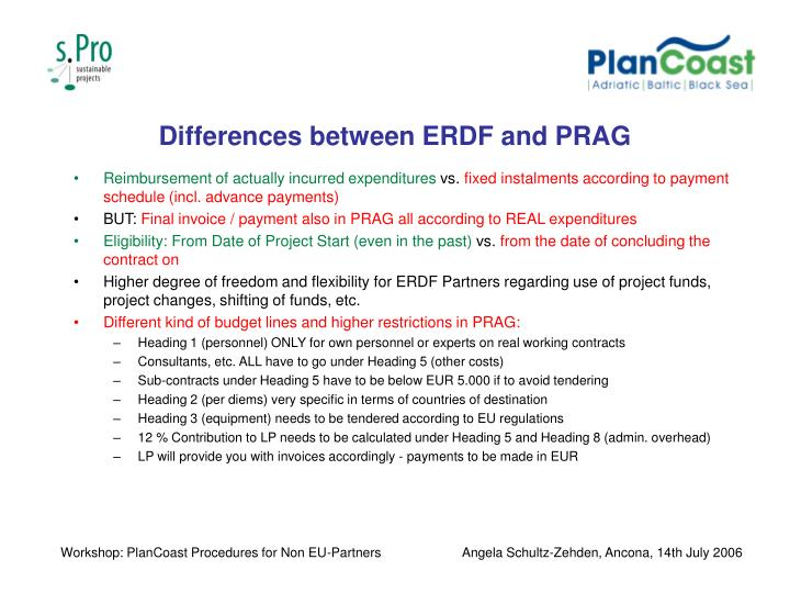 Differences between ERDF and PRAG