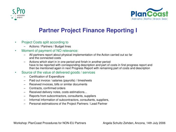 Partner Project Finance Reporting I