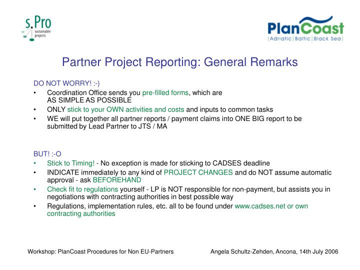 Partner Project Reporting: General Remarks
