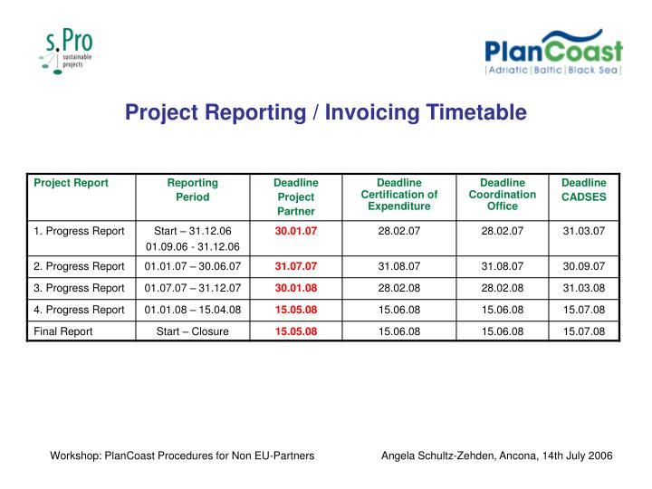 Project Reporting / Invoicing Timetable