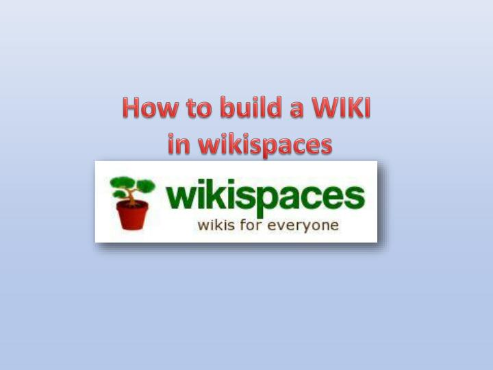 How to build a WIKI