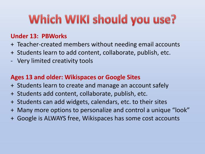 Which WIKI should you use?