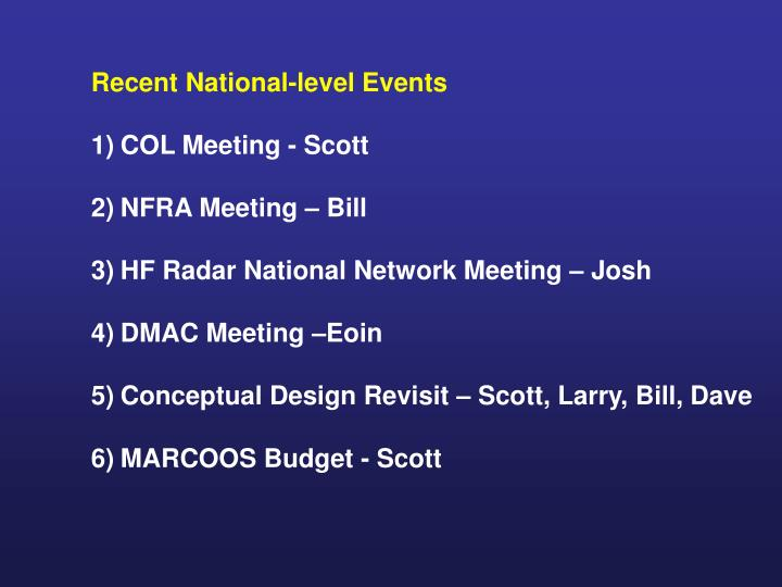 Recent National-level Events