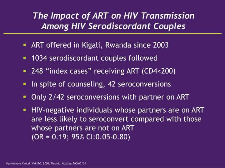 The Impact of ART on HIV Transmission