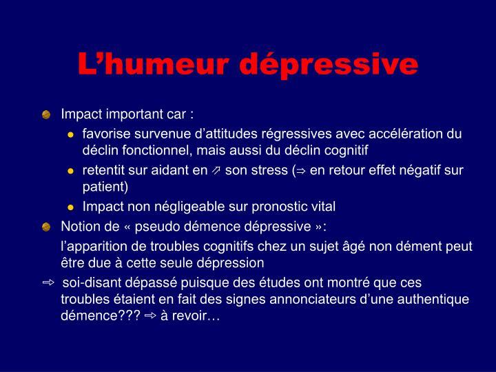 L'humeur dépressive
