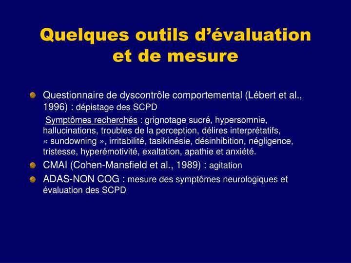 Quelques outils d'évaluation et de mesure