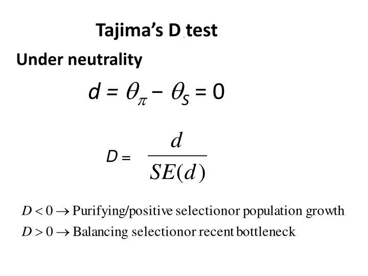 Tajima's D test