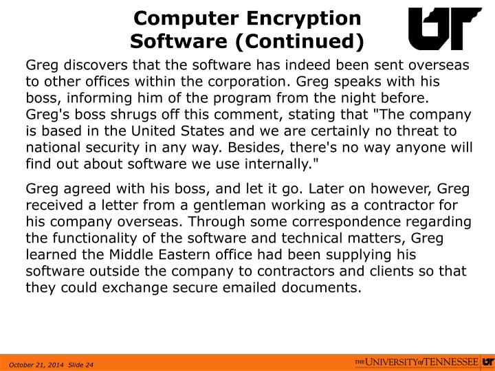 Computer Encryption Software (Continued)