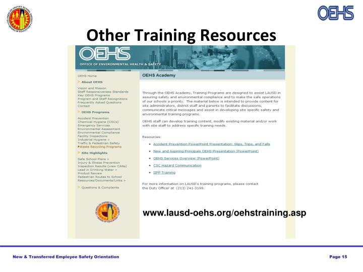 Other Training Resources