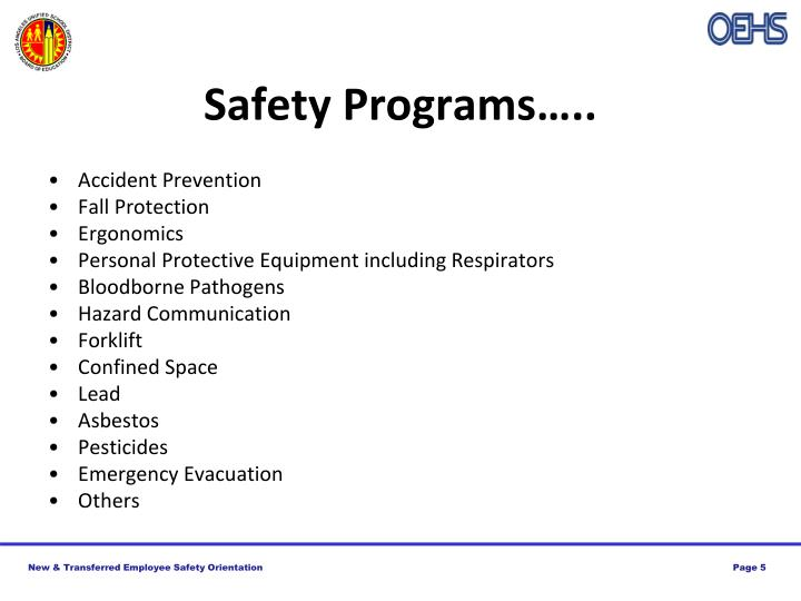 Safety Programs…..
