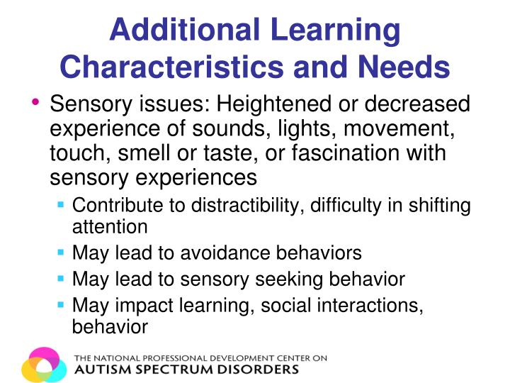 Additional Learning Characteristics and Needs