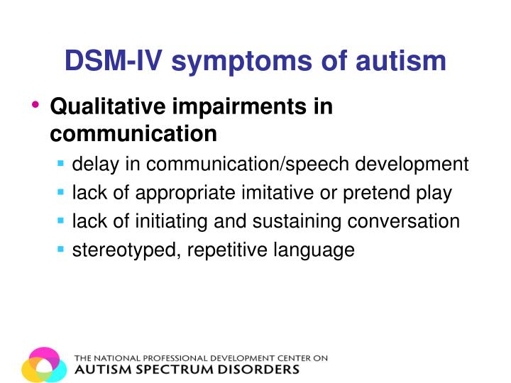 DSM-IV symptoms of autism