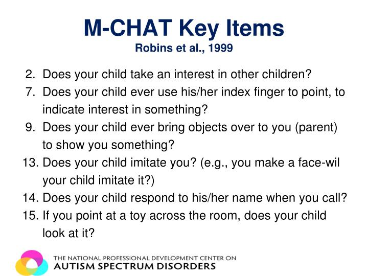 M-CHAT Key Items