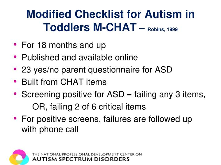 Modified Checklist for Autism in Toddlers M-CHAT