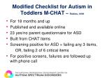 modified checklist for autism in toddlers m chat robins 1999