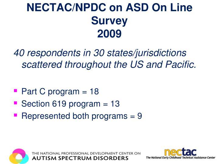 NECTAC/NPDC on ASD On Line Survey