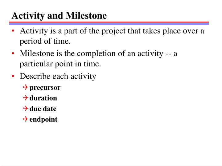 Activity and Milestone