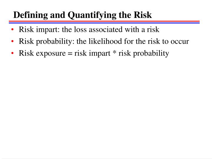 Defining and Quantifying the Risk