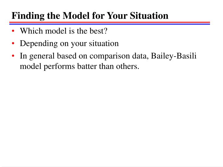 Finding the Model for Your Situation