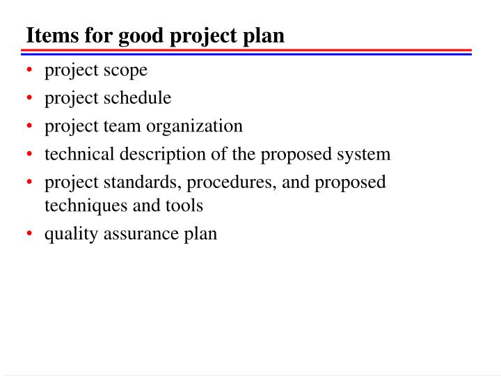 Items for good project plan