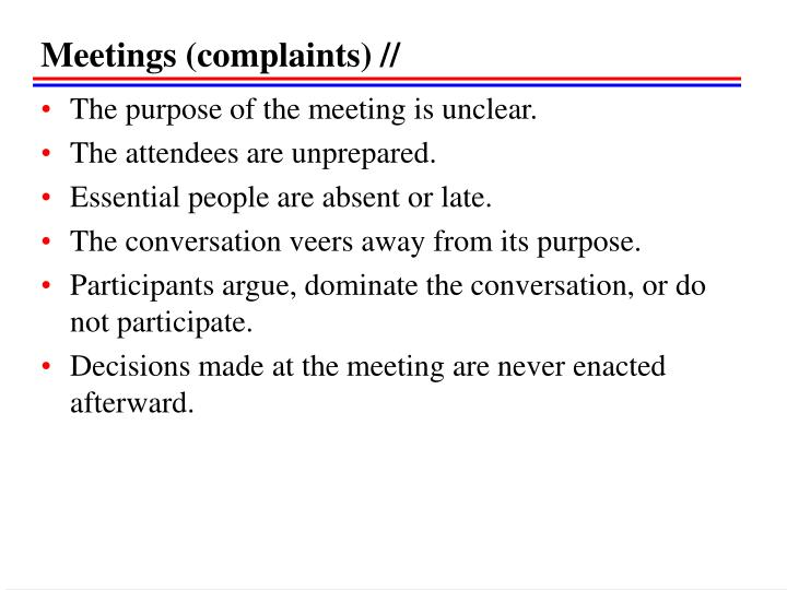 Meetings (complaints) //