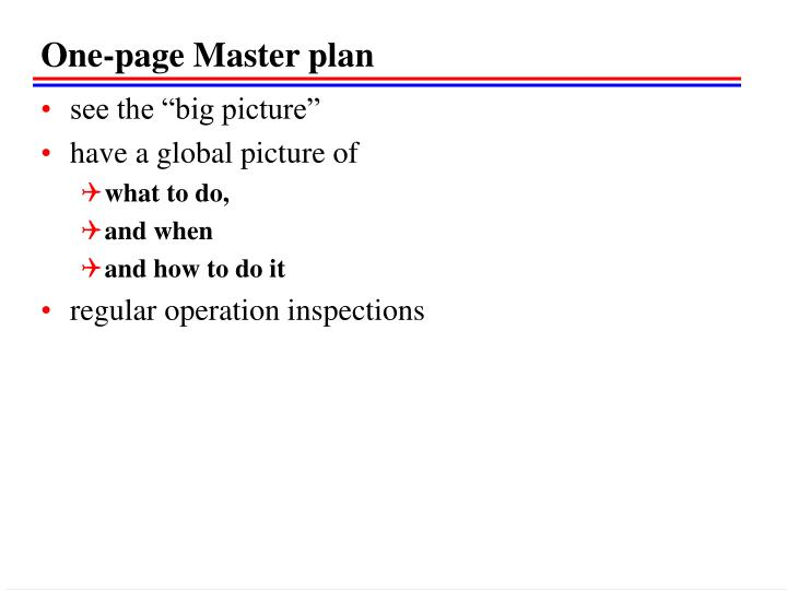 One-page Master plan