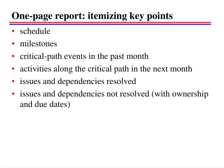 One-page report: itemizing key points