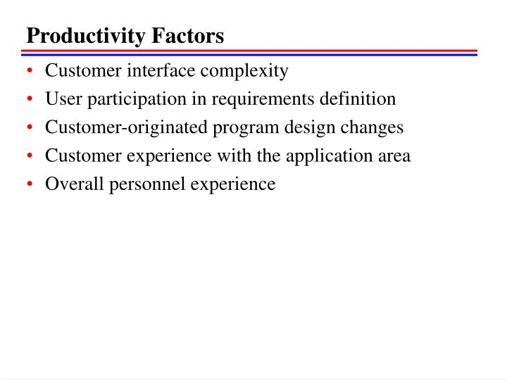 Productivity Factors