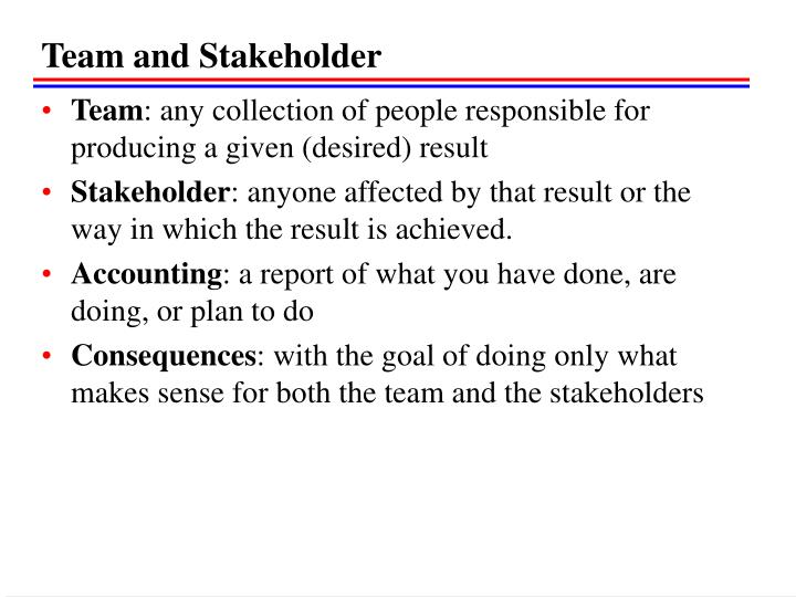 Team and Stakeholder