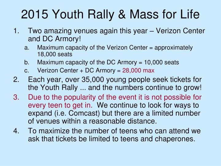 2015 Youth Rally & Mass for Life
