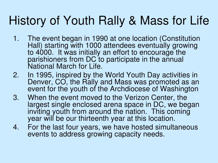 History of Youth Rally & Mass for Life