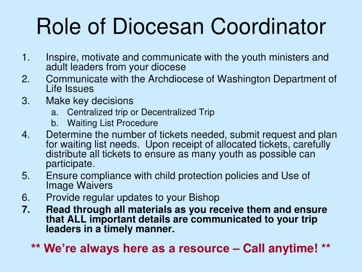 Role of Diocesan Coordinator
