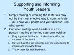 supporting and informing youth leaders