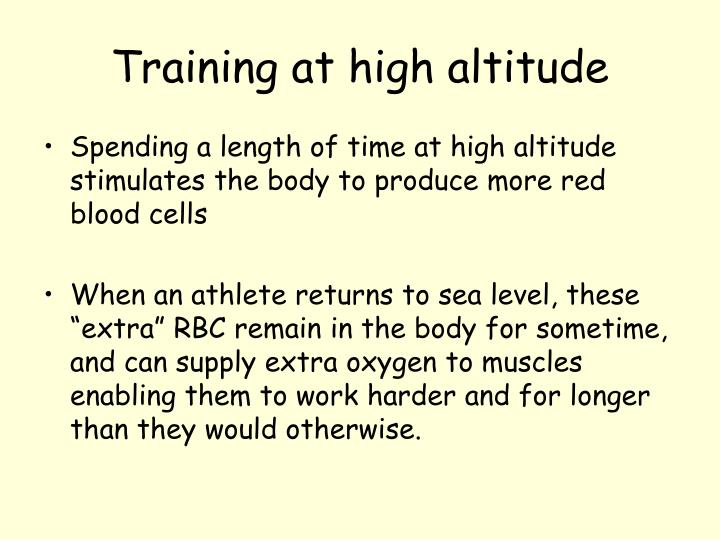 Training at high altitude