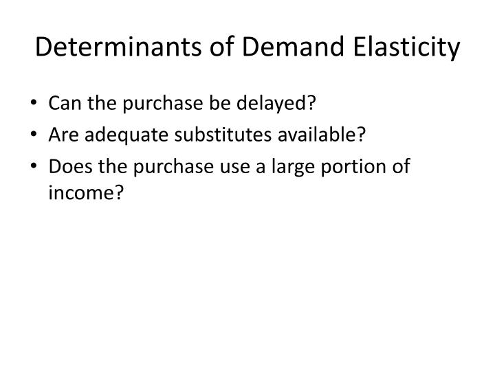 Determinants of Demand Elasticity
