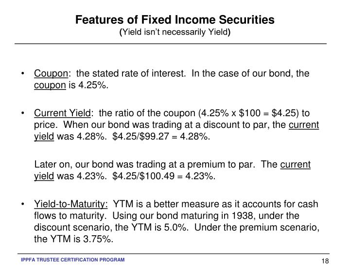 Features of Fixed Income Securities