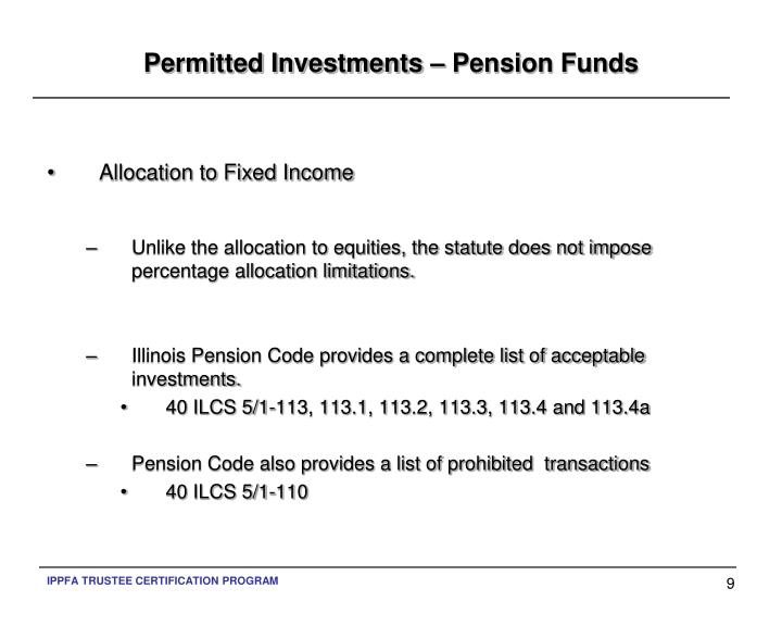 Permitted Investments – Pension Funds