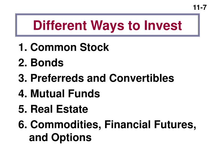 Different Ways to Invest