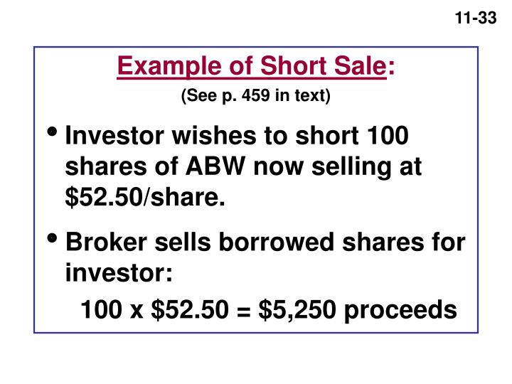 Example of Short Sale