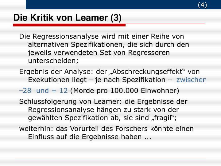Die Kritik von Leamer (3)