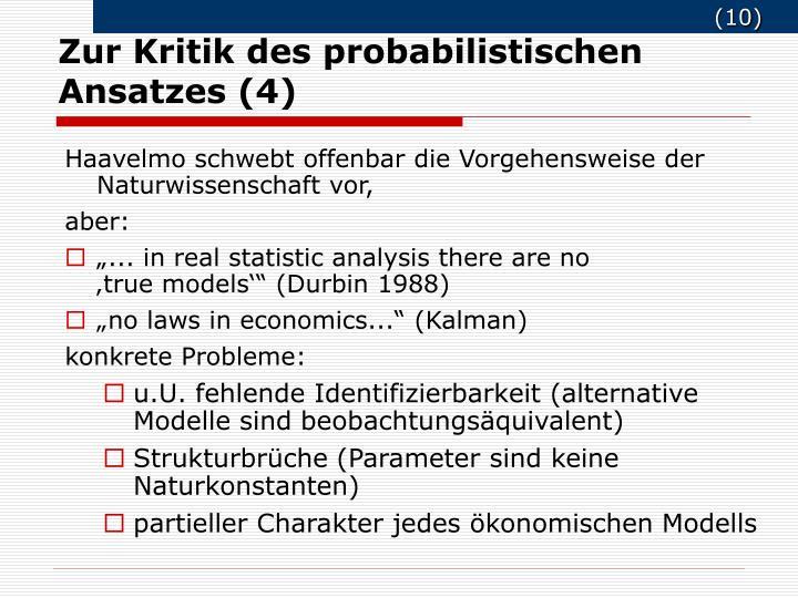 Zur Kritik des probabilistischen Ansatzes (4)