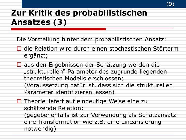Zur Kritik des probabilistischen Ansatzes (3)