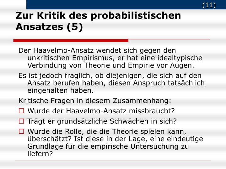 Zur Kritik des probabilistischen Ansatzes (5)