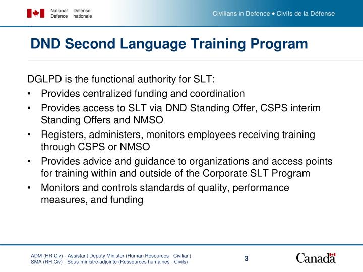 DND Second Language Training Program